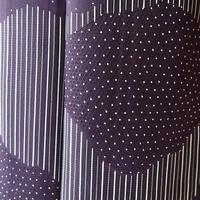 【単衣】茄子紺地 幾何学きりばめ風文様 小紋