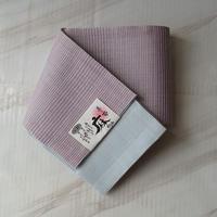 【半幅帯】浅紫色縞柄の麻半幅帯