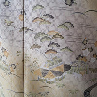 【袷】花織りに茶屋辻網干文 訪問着