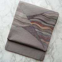 【ふくろ帯】灰色地三角によろけ縞袋帯