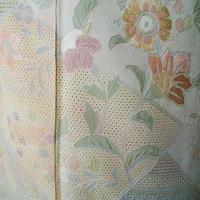 【袷】黄緑地 スワトウ刺繍文訪問着