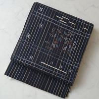 【なごや帯】黒地 縞に樹木文刺繍 洒落ふくろ帯 5o2