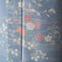 【夏・絽】湊鼠色に秋花柄の絽訪問着