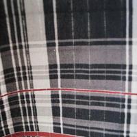 【men's・浴衣】  タータンチェック 黒×赤 浴衣 3m7