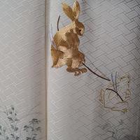 【袷】薄象牙色に鳥獣戯画文刺繍附下