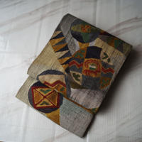 【ふくろ帯】鼠色地 抽象幾何学織文 洒落ふくろ帯   J-14