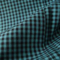 【袷】青緑色×墨黒色 ギンガムチェック紬