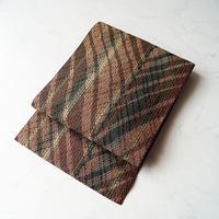 【なごや帯】ダーク系斜め格子文 織 なごや帯