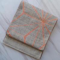 【ふくろ帯】紬地麻の葉柄ふくろ帯