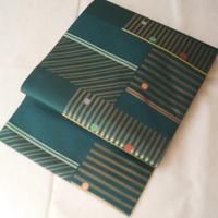 【なごや帯】クロムグリーン地 ポップな幾何学文 織なごや帯