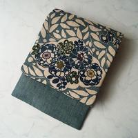 【夏なごや帯】生成り色×錆浅葱色 抽象草花文 型染め 麻なごや帯