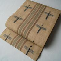 【夏なごや帯】芭蕉布 縞に十字文 なごや帯