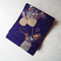 【夏アンティーク帯】紫色地 秋草花籠文 絽 アンティーク帯