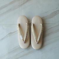 【草履】桜色台×生成り色地に金銀糸織り花緒 草履 Lサイズ
