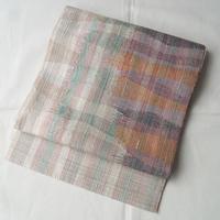 【なごや帯】メタリックなパステルトーンの紬地八寸なごや帯