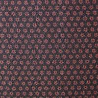 【袷】黒紅色×葡萄茶色 小花 小紋 3k13