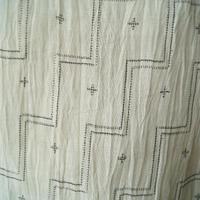 【夏・麻】生成り地 幾何学文 本麻 手織 小千谷縮 トールサイズ