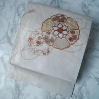 【なごや帯】パールホワイト調 花と鏡文 なごや帯