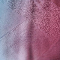 【帯揚げ】薔薇色×濃青竹色暈かし 菱地紋 帯揚げ 文㋬