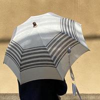 【Bon Bon Store】リネン ボーダー オフホワイト 日傘