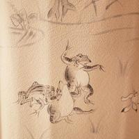 【袷】トールサイズ・鴇浅葱 (ときあさぎ)色地 鳥獣戯画文 色留め袖