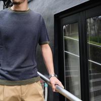 RIVORA  half sleeve knit  linen-silk