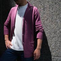 【McLauren】linen-cotton knit jacket smoky-violet