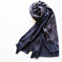 【PAOLO ALBIZZATI】double face silk scarf  navy