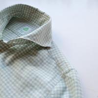 【Finamore】check shirt  mint green