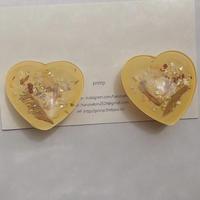 Glass heart earring