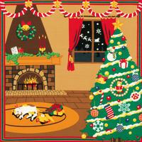 三毛猫みけの夢日記 ふろしき【中巾】みけのクリスマス