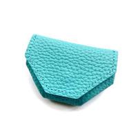 六角コインケース シュリンク型押しレザー【blue bloom】bb008