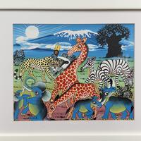 ティンガティンガアート「大地に集う動物たち~青いキリマンジャロとバオバブ~」 by ムテコ