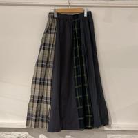 NATURAL LAUNDRY パネル シャーリングスカート ネイビー
