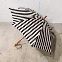 日傘 綿麻キャンバス ストライプ ブラック (綿80% 麻20%) 晴雨兼用