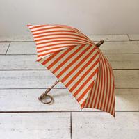 SUR MER 日傘 綿麻キャンバス ストライプ オレンジ (綿80% 麻20%) 晴雨兼用