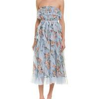 zimmermann ジマーマン Blue Abito Ruffle Silk Midi Dress ワンピース$1050