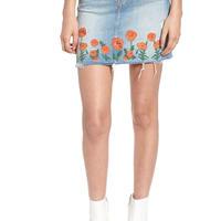 MOTHER マザー High Waist Fray Straight Denim Miniskirt  スカート $268