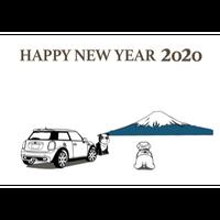 2020年 MINI ミニクーパー 塗り絵年賀状 ---富士山---