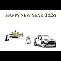 2020年 MINI ミニクーパー 塗り絵年賀状 ---金閣寺---