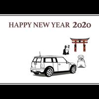 2020年 MINI ミニクーパー 塗り絵年賀状 ---宮島---