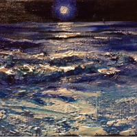 仕事運アップ絵画『夜の海』油絵