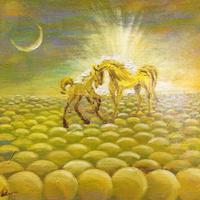 金運アップ『黄色い馬』油絵