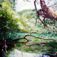 開運アート『水と木と緑のある風景』油絵