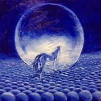 仕事運アップ『青い馬』油絵