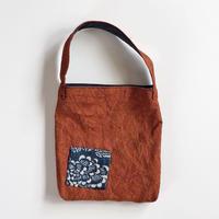 柿渋染め(ムラ) ミニミニ エコバッグ (ミニミニトートバッグ) 古布のハギレパッチ oz and made