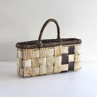沢胡桃のかごバッグ『フト編み斜めハンドル』 34cm幅 手提げ籠