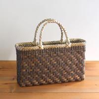 沢胡桃のかごバッグ  網代編み 裏皮 ステッチ4段  横幅34cm