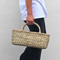 沢胡桃のかごバッグ『市松表皮』 43cm幅 手提げ籠  大き目で横長