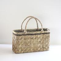 沢胡桃のかごバッグ『網代編み 表皮 』 34cm幅 マチ13cm 手提げ籠